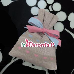 Sacchettini bomboniere portaconfetti con cuori per Gemelli
