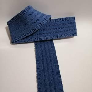 Nastro elastico bordo arricciato rouche 6 cm blu jeans