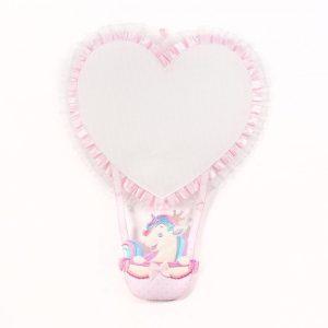 Fiocco nascita cuore rosa con unicorno per bambina