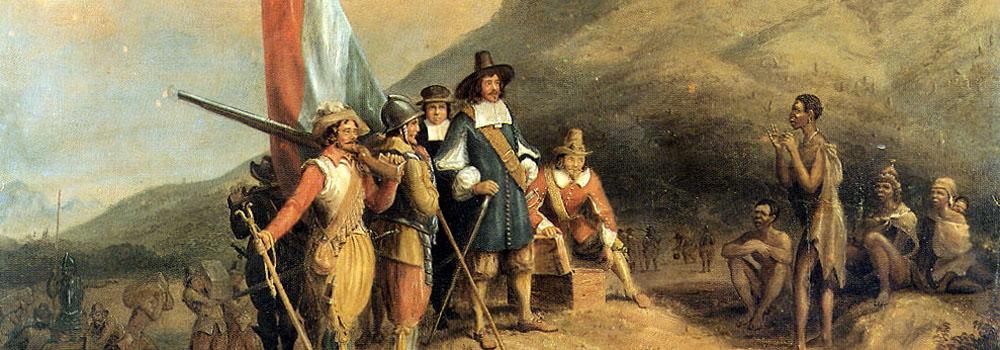 Jan van Riebeeck in gesprek met een KhoiKhoi (Hottentot)
