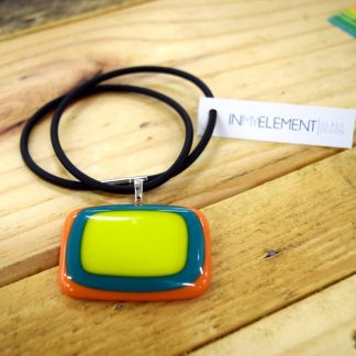 Fused glass pendant necklace lime green orange