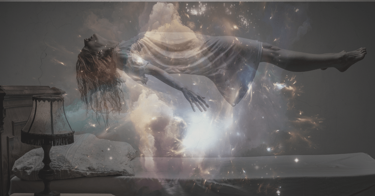 A woman having an astral projection experience
