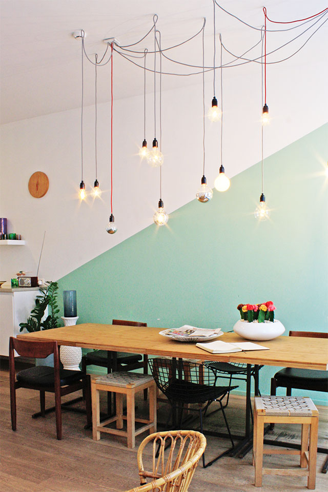 Rosier10 Antwerpen Design Bed and Breakfast Essbereich Leuchten