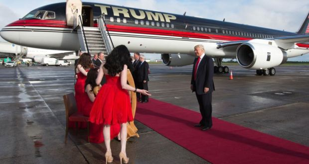 Trump listens to the group Affinity on the ramp. Because owning a personal 757 with your name in gold on the side is not always ostentatious enough.