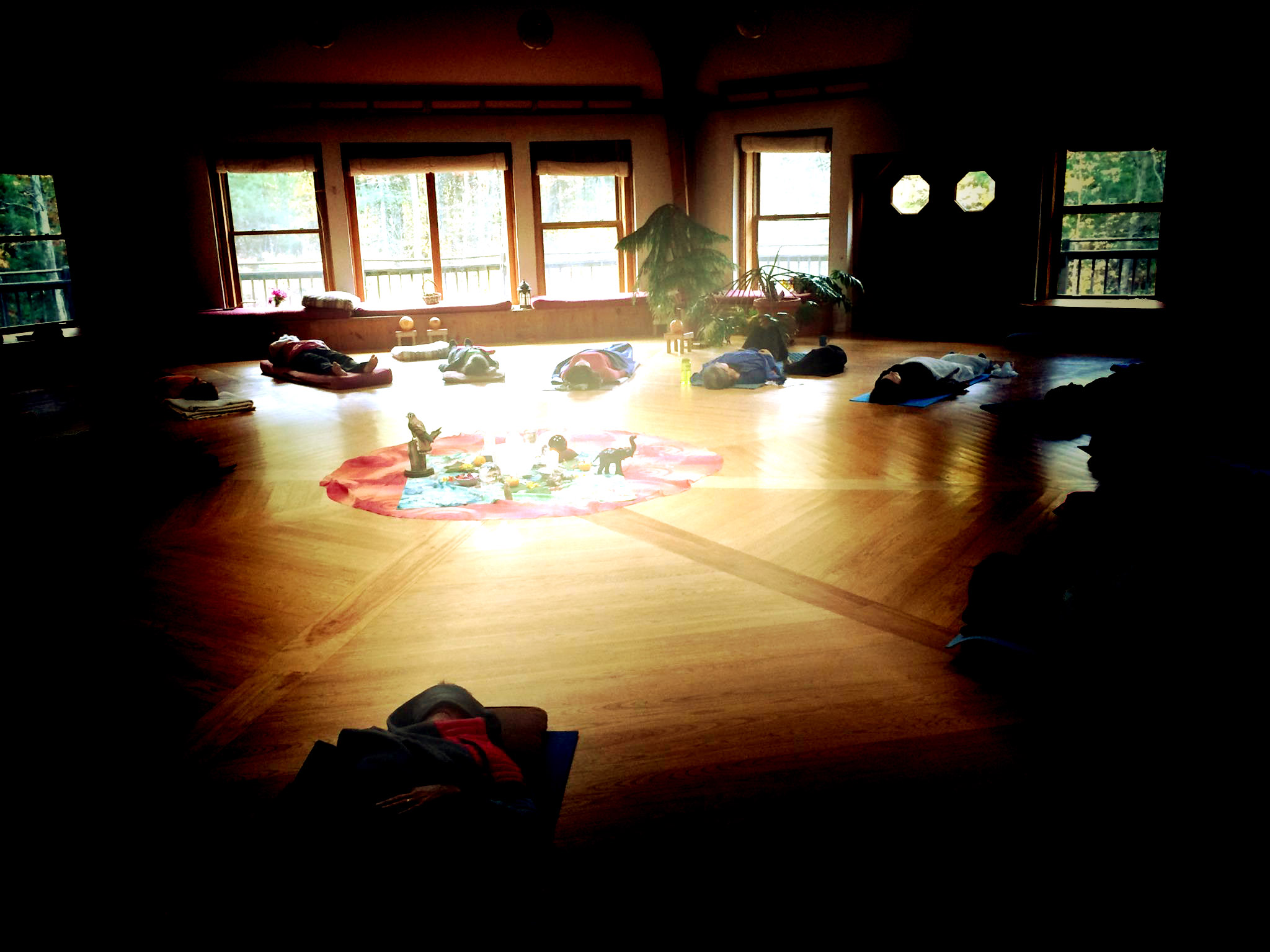 breathwork session at a previous retreat