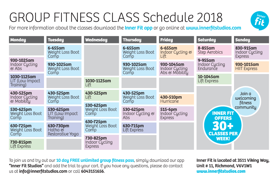 Inner Fit Group Fitness Schedule April 2018 SOCIAL MEDIA 2