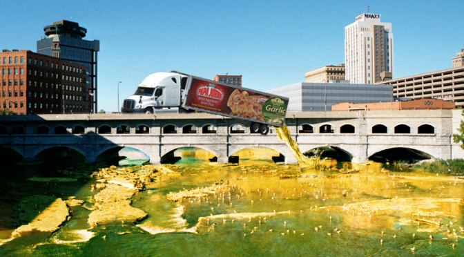 Papa John's Dumps Leftover Garlic Sauce into Genesee River While Leaving Rochester
