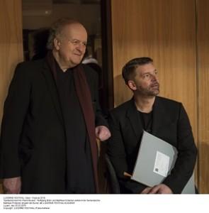 Wolfgang Rihm und Matthias Pintscher während der Genreralprobe