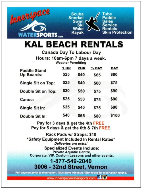2016 Innerspace Watersports Watercraft Rental Info
