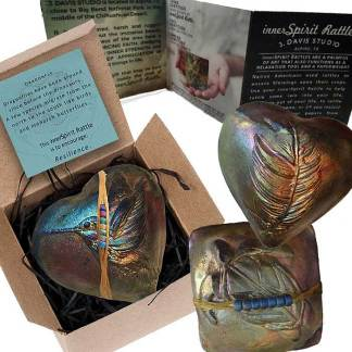 innerSpirit Rattles by J. Davis Studio gift boxed with a story card