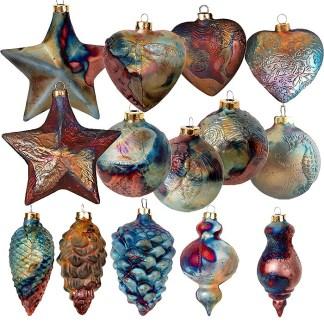 Mixed Dozen J. Davis Studio Raku Ornaments