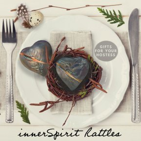 innerSpirit Rattles in a nest in a table setting for an Easter Brunch