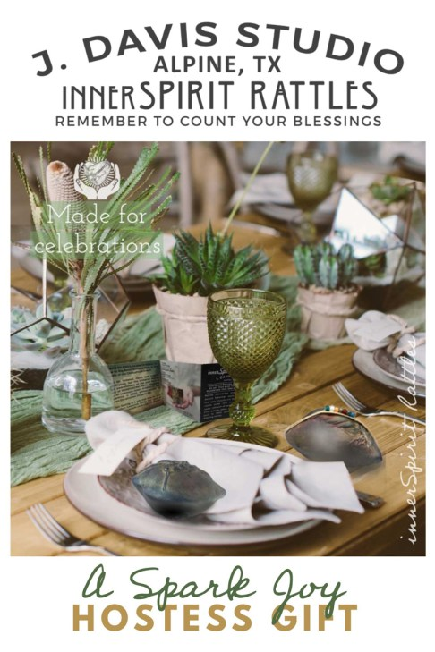 Table setting with greenery and innserSpirit Rattles