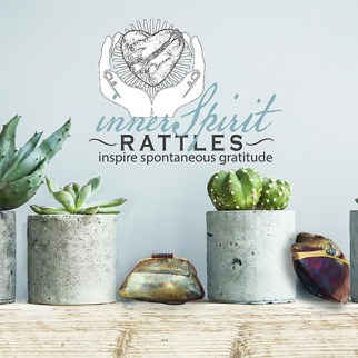 innerSpirit Rattles with succulents on a mantle
