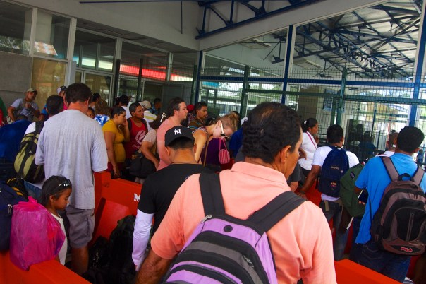 The Costa Rican Immigration office after a Tica Bus arrives.