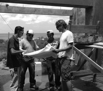 - Austin Drill works onsite with builders in the Casa de Tierra construction company he set up with his wife, Michelle