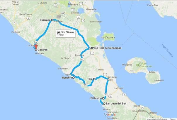 Map of Southern Nicaragua