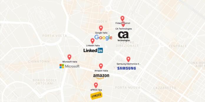 Mappa tech valley, Milano