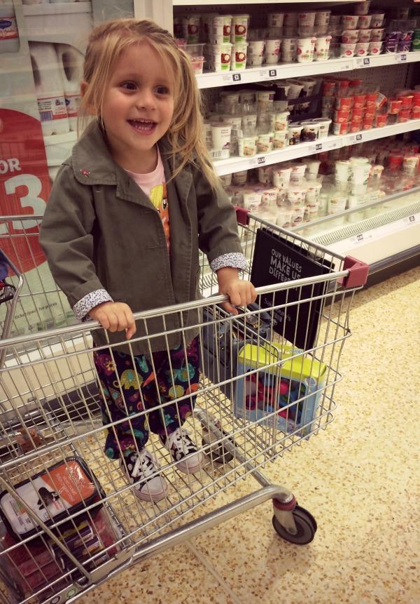 Addison in a trolley