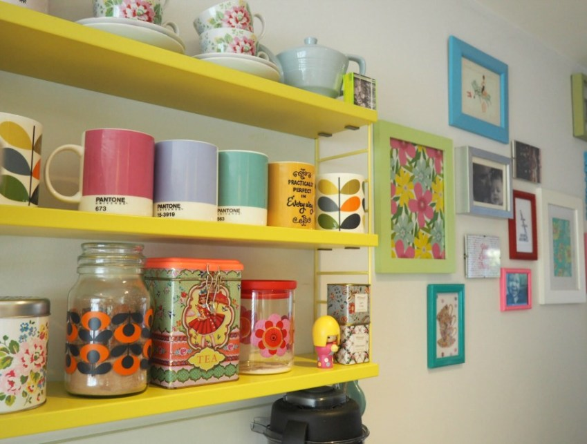 A look at creating a hit drinks area in your kitchen with a Pocket String Shelf from Innocent Charms Chats