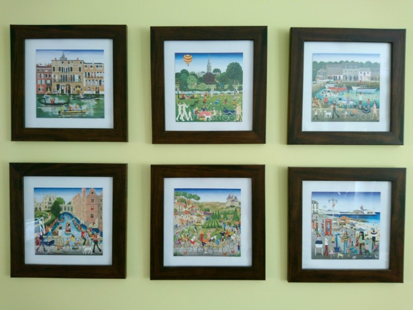 A Feng Shui wall with Louise Braithwaite prints, find out more at Innocent Charms Chats
