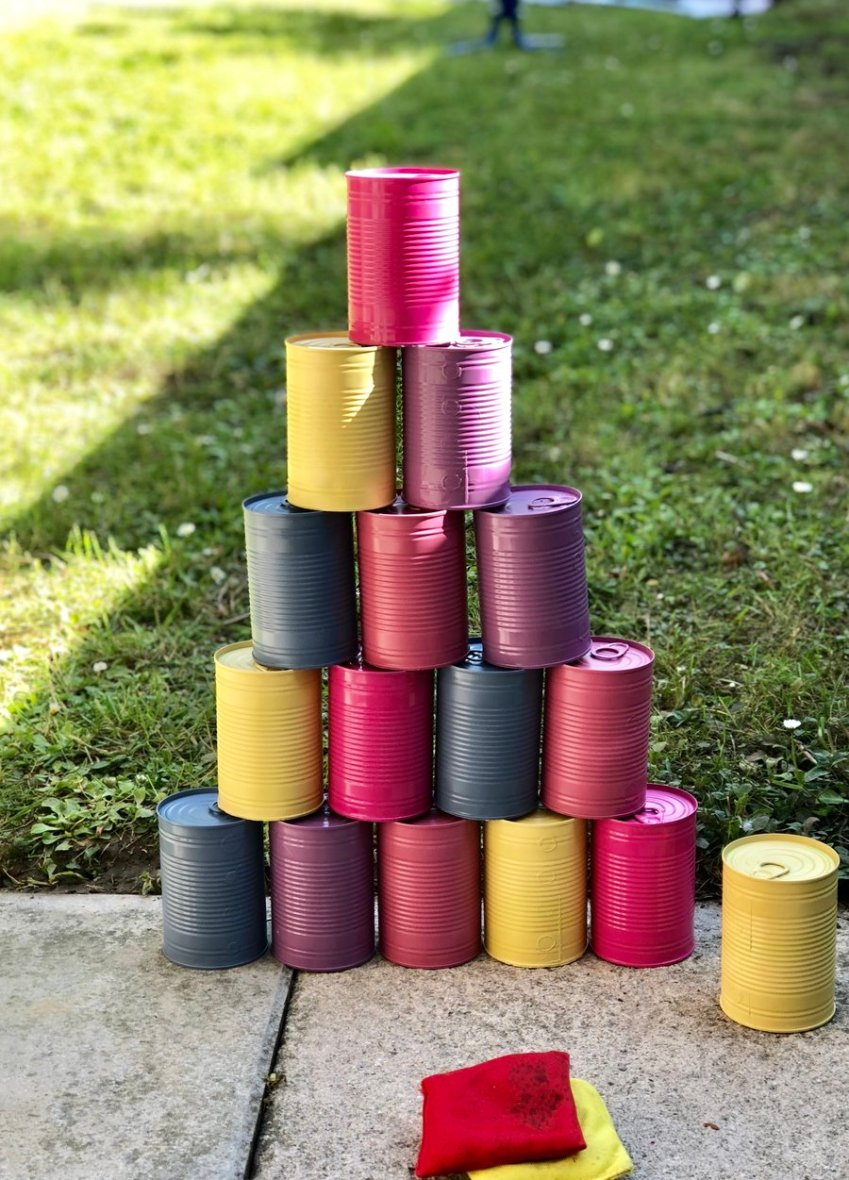 Find out how to make your own Tin Can Alley Garden Game, costing very little and taking no time at all from Innocent Charms Chats