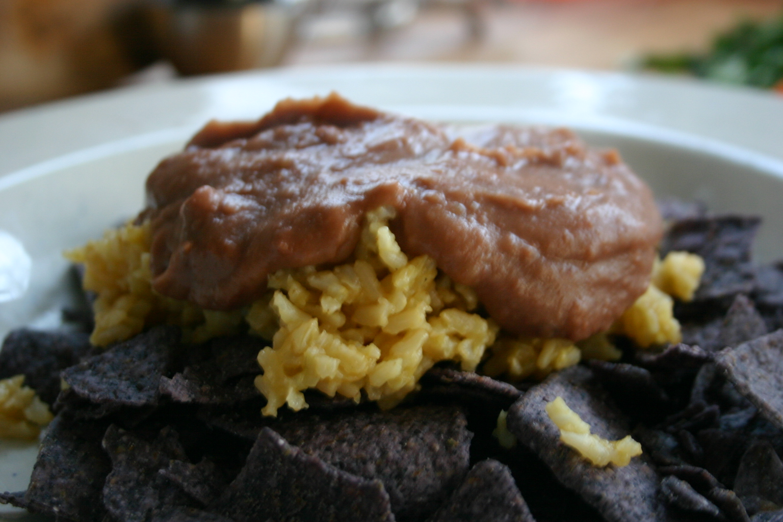 taco salad: rice and beans