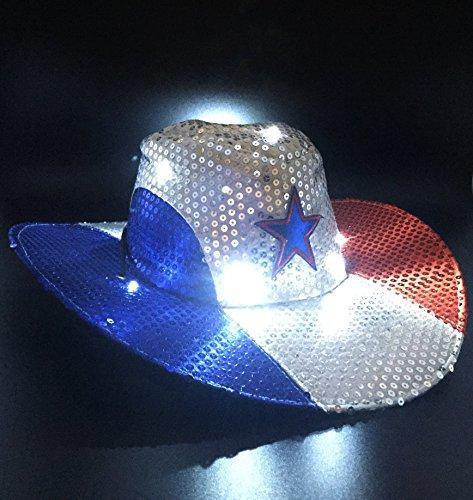 GIFTEXPRESS Light Up Patriotic Cowboy HatPatriotic Sequin