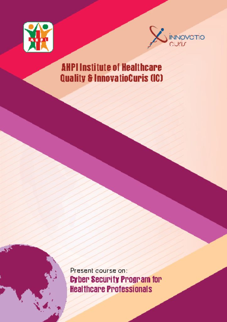 thumbnail of AHPI & InnovatioCuris – Cyber security program for healthcare professionals – brochure