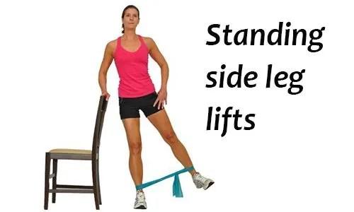 Standing side leg lift exercise