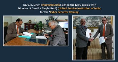 Dr. V. K. Singh from InnovatioCuris Pvt. Ltd. signed the MoU copies with Director Lt Gen P K Singh (Retd) from The United Service Institution of India for the 'Cyber Security Training'.