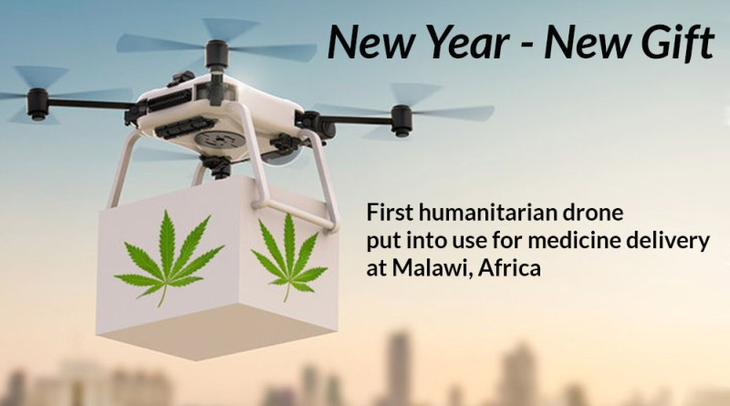 First-humanitarian-drone-put-into-use-for-medicine-delivery-at-Malawi,-Africa