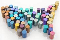 Geanodiseerde titaanstaven (foto Titanium Finish Company)
