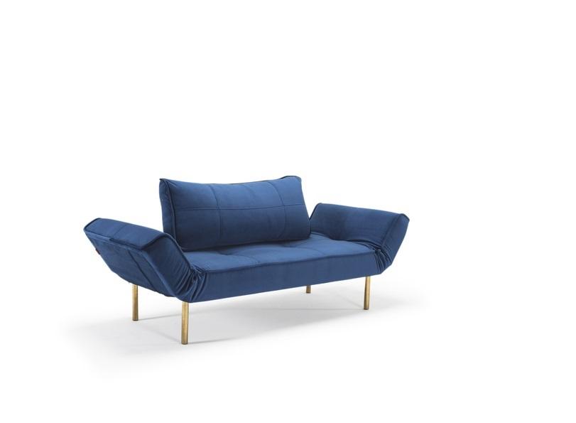 Zeal zitbank slaapbank in 542 blauw fluweel met Styletto