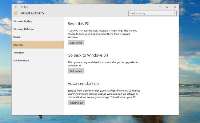 Uninstall Windows 10 Downgrade Windows 10 To Windows 8 Or