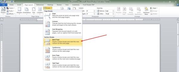 make word pages landscape