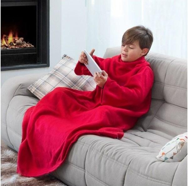 Cobertor Snug com mangas para crianças - Vermelho