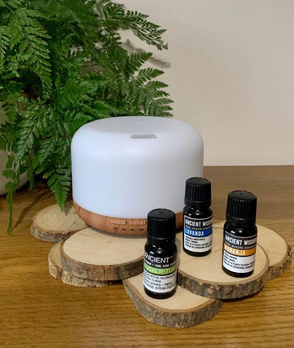 Kit Aromaterapia Humidificador Difusor com 3 óleos essenciais