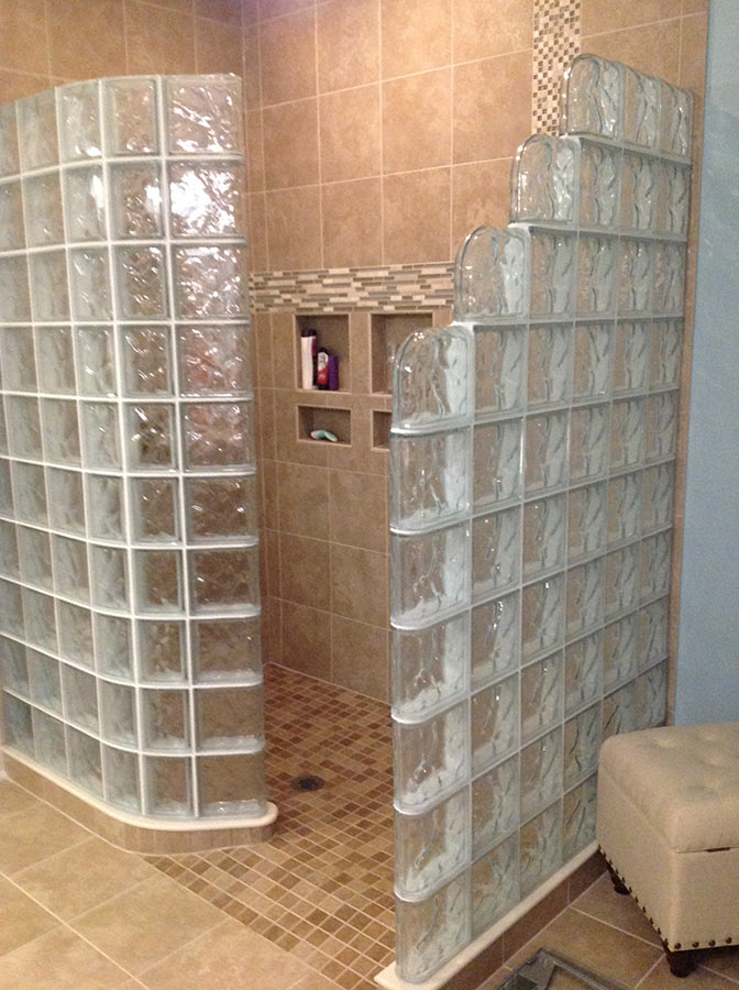 Glass Block Shower Wall  Walk in Designs Nationwide Supply  Columbus  Cleveland Ohio