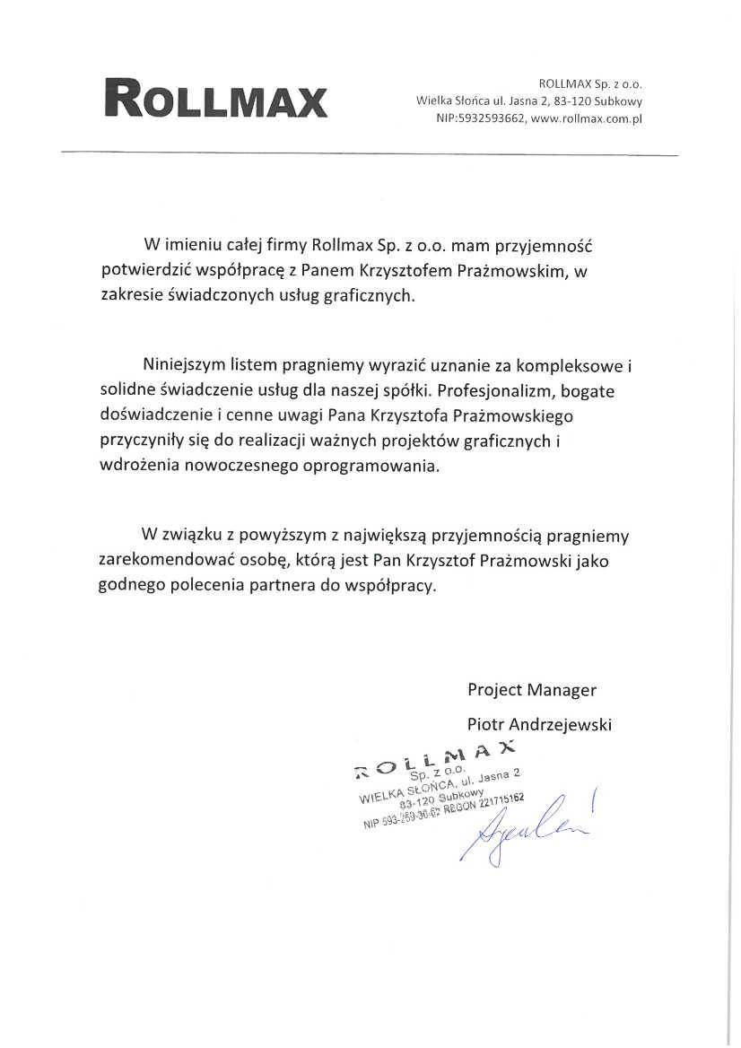 Firma ROLLMAX Sp z o.o.