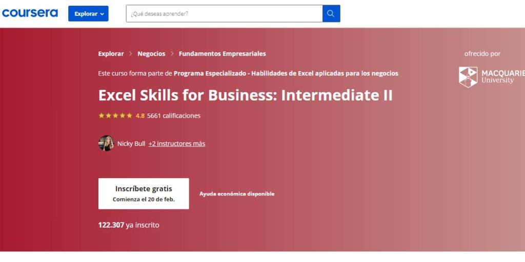 curso-excel-skills-for-business-intermediate