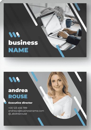 tarjeta de presentación con fotografía