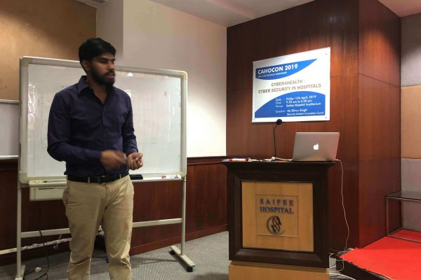 Dhruv Singh at Cybersecurity training for healthcare professionals and hospitals