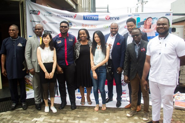 L-R: Special Assistant to the Chairman of CHISCO Group, Moses Chukwuka; Coscharis Motors General Marketing Manager, Abiona Babarinde, Representative from TECNO Mobile; Executive Director, CHISCO Group of Companies, Obinna Anyaegbu; Group Management Consultant, CHISCO Group of Companies, Barrister Obiageli Obi; Representative from TECNO Mobile; Executive Director, AGABAH.com, Ikenna Onuorah; Deputy Marketing Manager, Offline Activation and PR, TECNO Mobile, Attai Oguche; Deputy Marketing Manager, Digital, TECNO Mobile, Jesse Oguntimehin; Director, CHISCO Energy, Chidi Anyaegbu (Jnr)