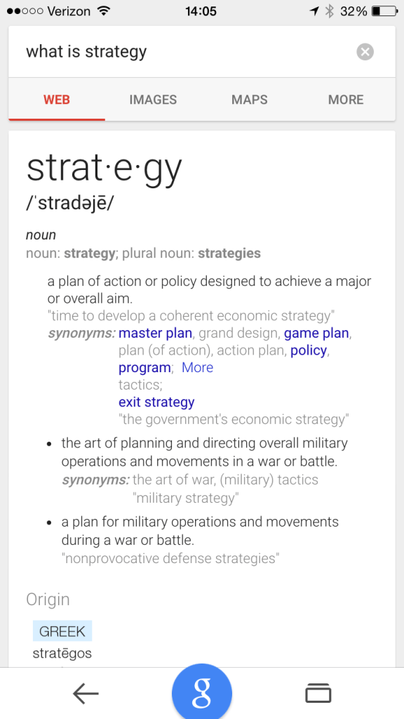 "Google Search for ""What is Strategy"""