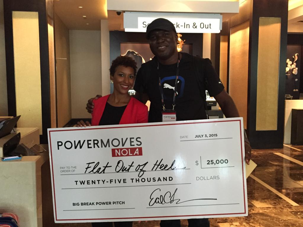 With Dawn Dickinson, ceo and founder of Flat Out of Heels, at the Hyatt Regency in NOLA after she won the #PowerMoves #BigBreak  Pitch at #EssenceFest. Image Credit: Tasha Kersey Aoaeh