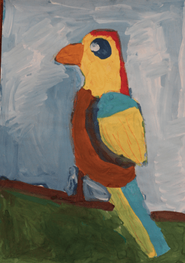 This is my favourite pet parrot. His name is Mitya. I used the symbolic colours of our Ukrainian flag: blue and yellow. Blue means the colour of the sky, wheras yellow is the colour of wheat field.