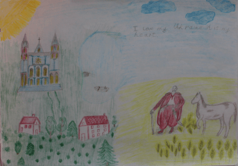 I drew the Dneiper, it's our river. On the right there's a cozak (they were warriors for freedom of our country). There are houses on the left where my granny lives and where I spend my summer holidays.