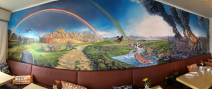 The mural showing the stories of Loki's adventures