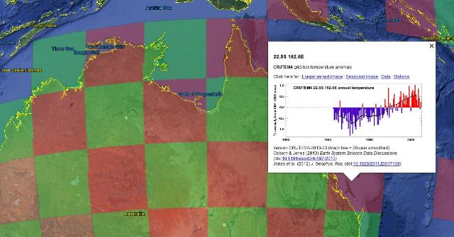 Climate researchers at the University of East Anglia have made the world's temperature records available via Google Earth.